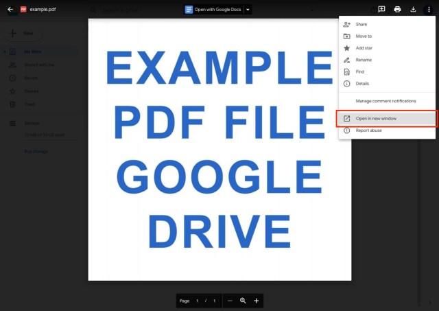 Google Drive: Open PDF in New Window