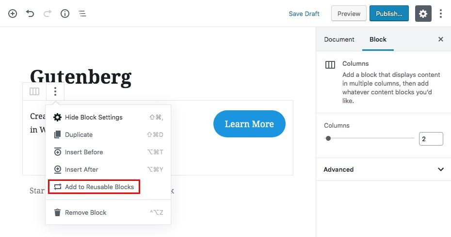 Многоразовые блоки контента Гутенберга Шаг 1