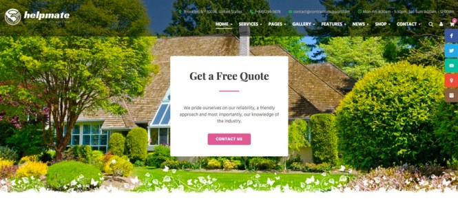 Thème WordPress pour le jardinage et l'entretien de Helpmate