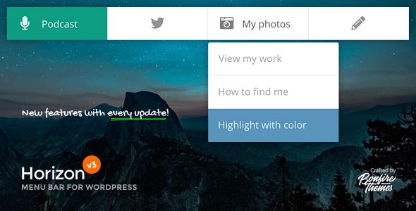 Horizon Menu Bar Premium Plugin for WordPress