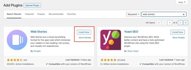 Installer Google Web Stories pour WordPress