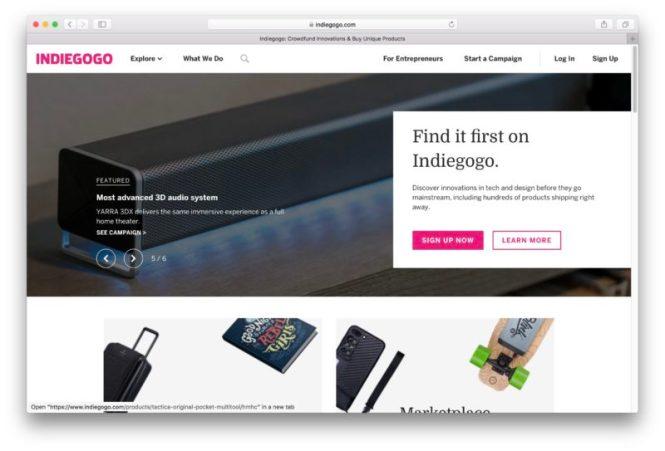 La page d'accueil d'Indiegogo.