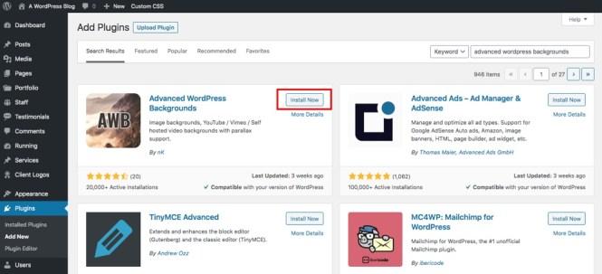 Installer des arrière-plans WordPress avancés