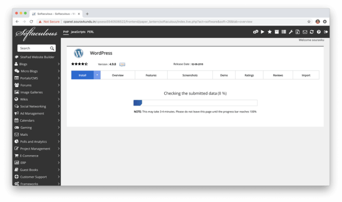 installer wordpress avec le traitement softaculous cpanel 6