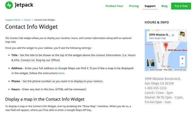 Jetpack Coordonnées et carte Widget