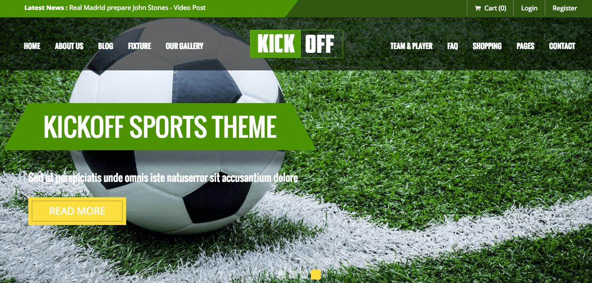 Kickoff Sports Club theme