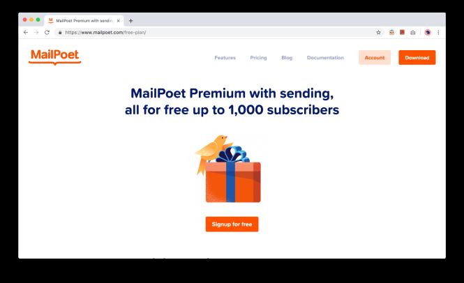 Plan MailPoet Forever Free pour jusqu'à 1000 abonnés
