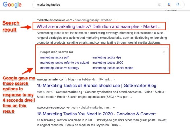 Marketing Tactics Recommandations de résultats de recherche Google