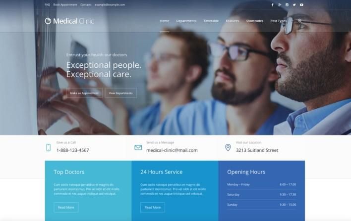 Clínica médica: tema médico de WordPress para la salud y el médico