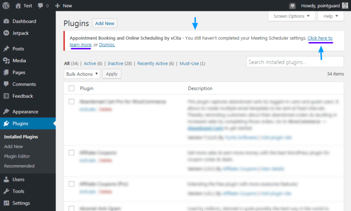 configuración del programador de reuniones
