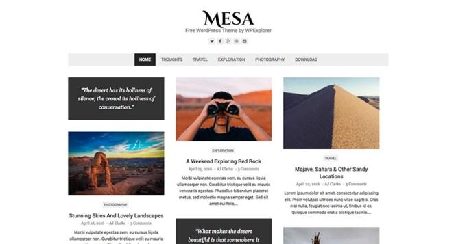 Thème WordPress gratuit Mesa