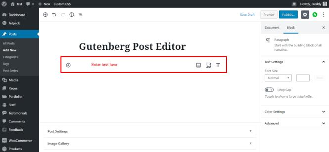 nouveau bloc de paragraphe à gutenberg