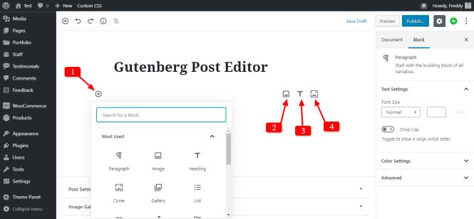 nouvelles options de bloc de paragraphe gutenberg