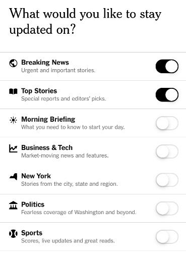 Paramètres du segment de notification push