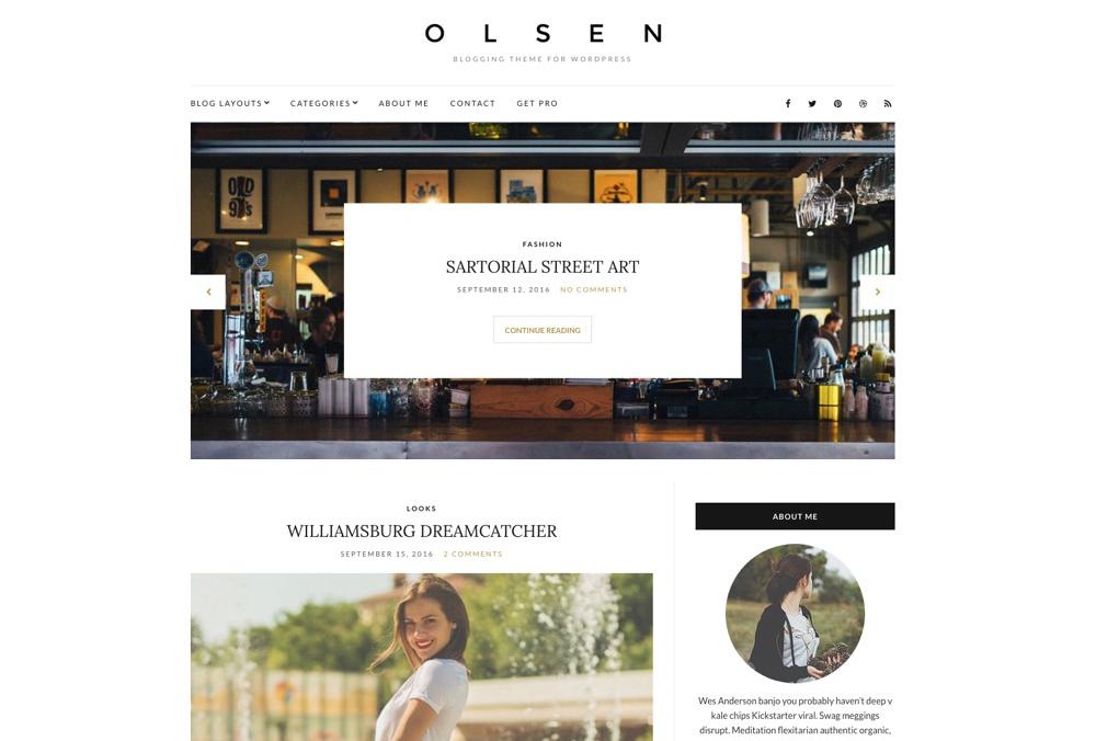 Olsen Light Free Blog WordPress Theme