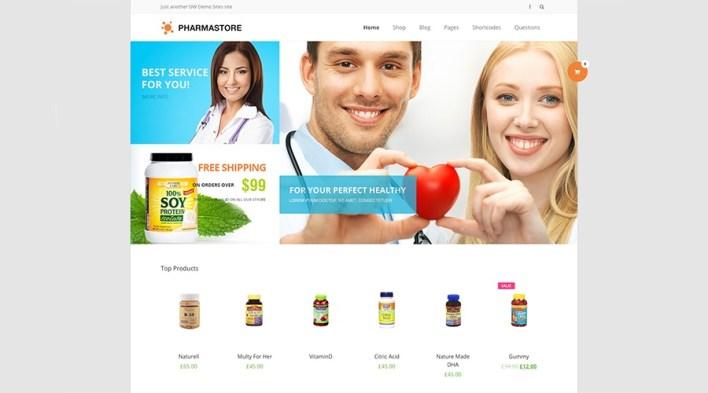 DW PharmaStore - Tema de comercio electrónico WP