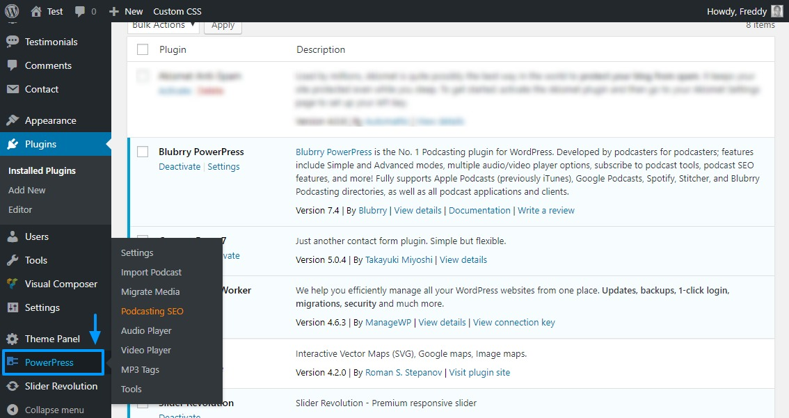 powerpress podcasting plugin on wordpress admin menu