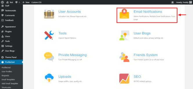 notifications par email de profilegrid