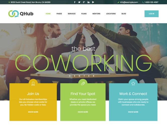 Qhub - Thèmes WordPress pour espace de travail et coworking