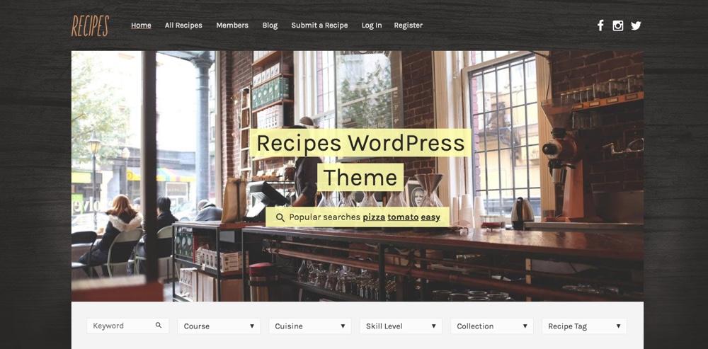 Recipes Blogging WordPress Theme