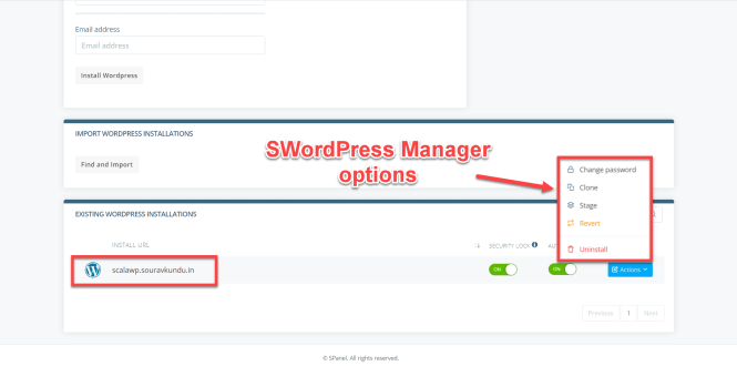 options du gestionnaire scala swordpress
