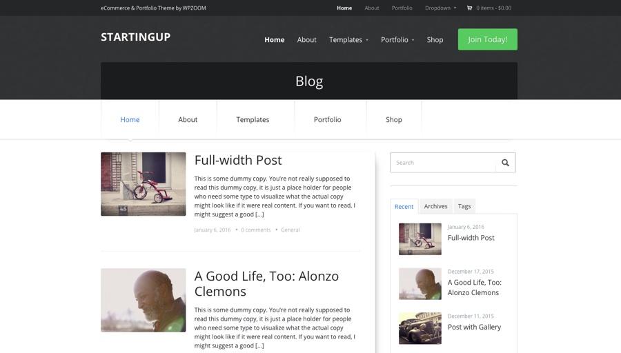 StartingUp Blogging WordPress Theme