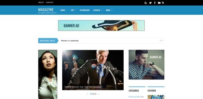 Thème WordPress pour magazine à 3 colonnes