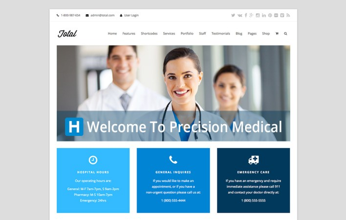 Página de inicio de WordPress Theme Multipurpose Total Medical