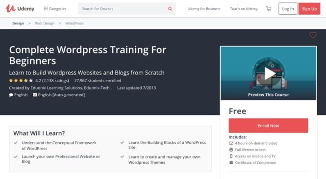 Compléter la formation WordPress pour les débutants par Udemy