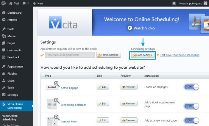 configuración de programación vcita