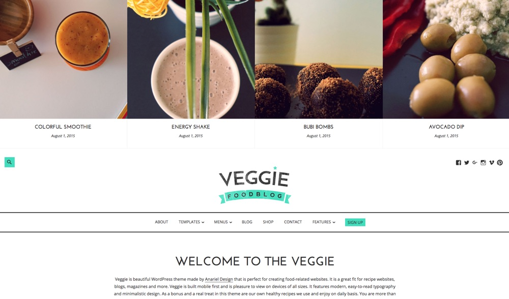 Veggie BloggingWordPress Theme