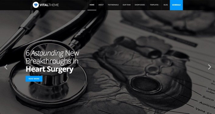 Salud vital y tema de WordPress medial