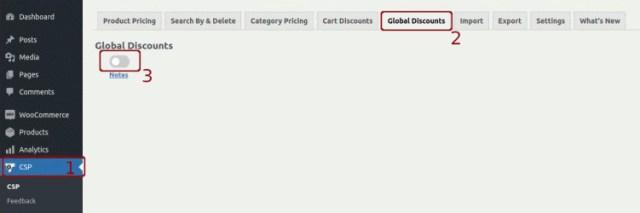 WISDM Customer Specific Global Discounts