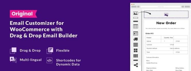 Email Customizer pour WooCommerce avec Drag & Drop Builder