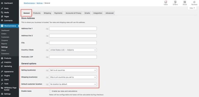 Paramètres de localisation des options générales de WooCommerce
