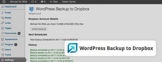 Backup to Dropbox Plugin