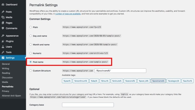 Paramètres de lien permanent WordPress