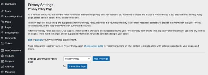 Générateur de politique de confidentialité WordPress