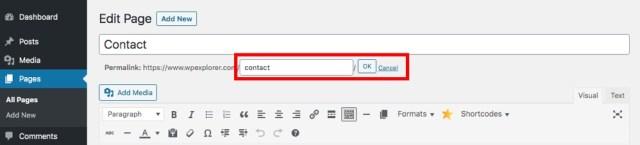 WordPress Page Slug Example