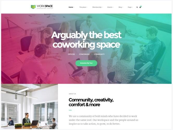 Espace de travail - Thème WordPress pour espace de bureau créatif