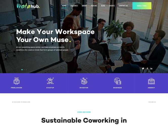 WotaHub - Thème WordPress pour espace de coworking