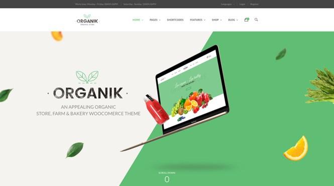 Thème WooCommerce Organique - Bio, Ferme et boulangerie