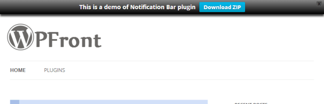 Barre de notification WPFront