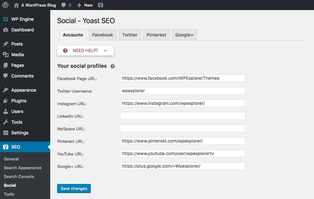 Yoast SEO Социальные настройки