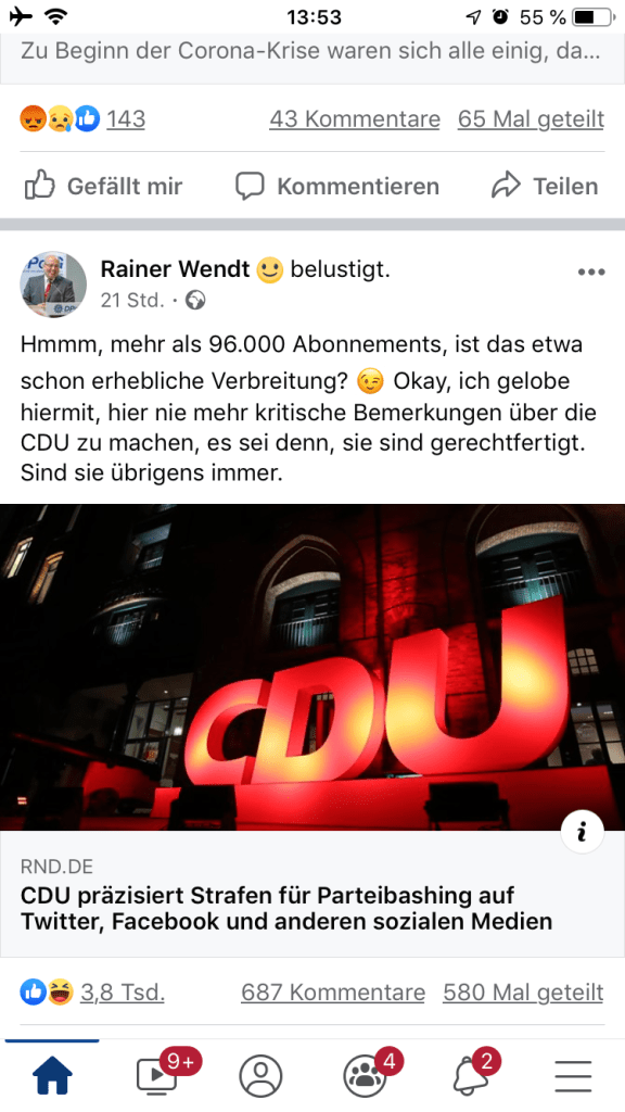 Rainer Wendt, Facebook Post 8. Juli