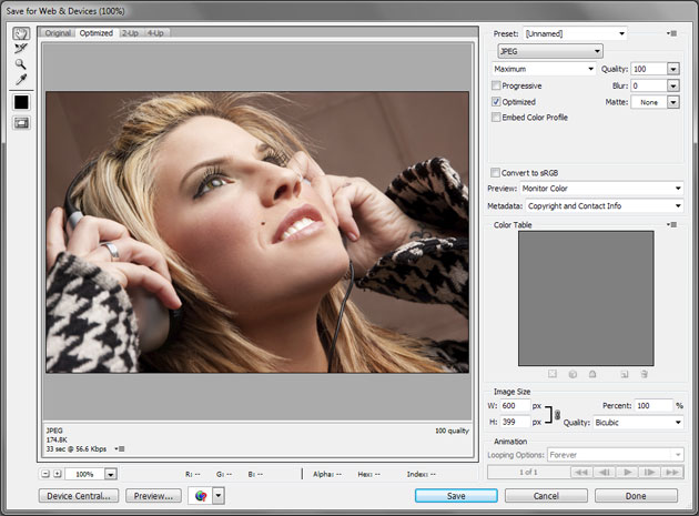 Adobe Photoshop Save for Web