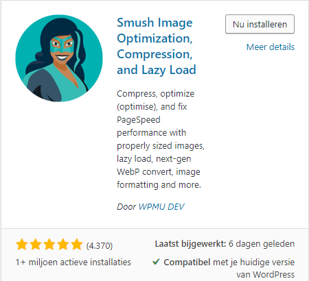 Installing WP Smush in WordPress
