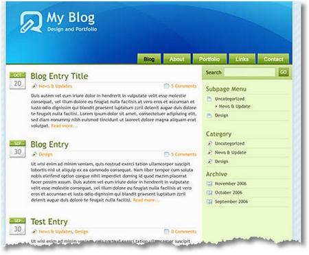 Tema Glossy Blue per WordPress