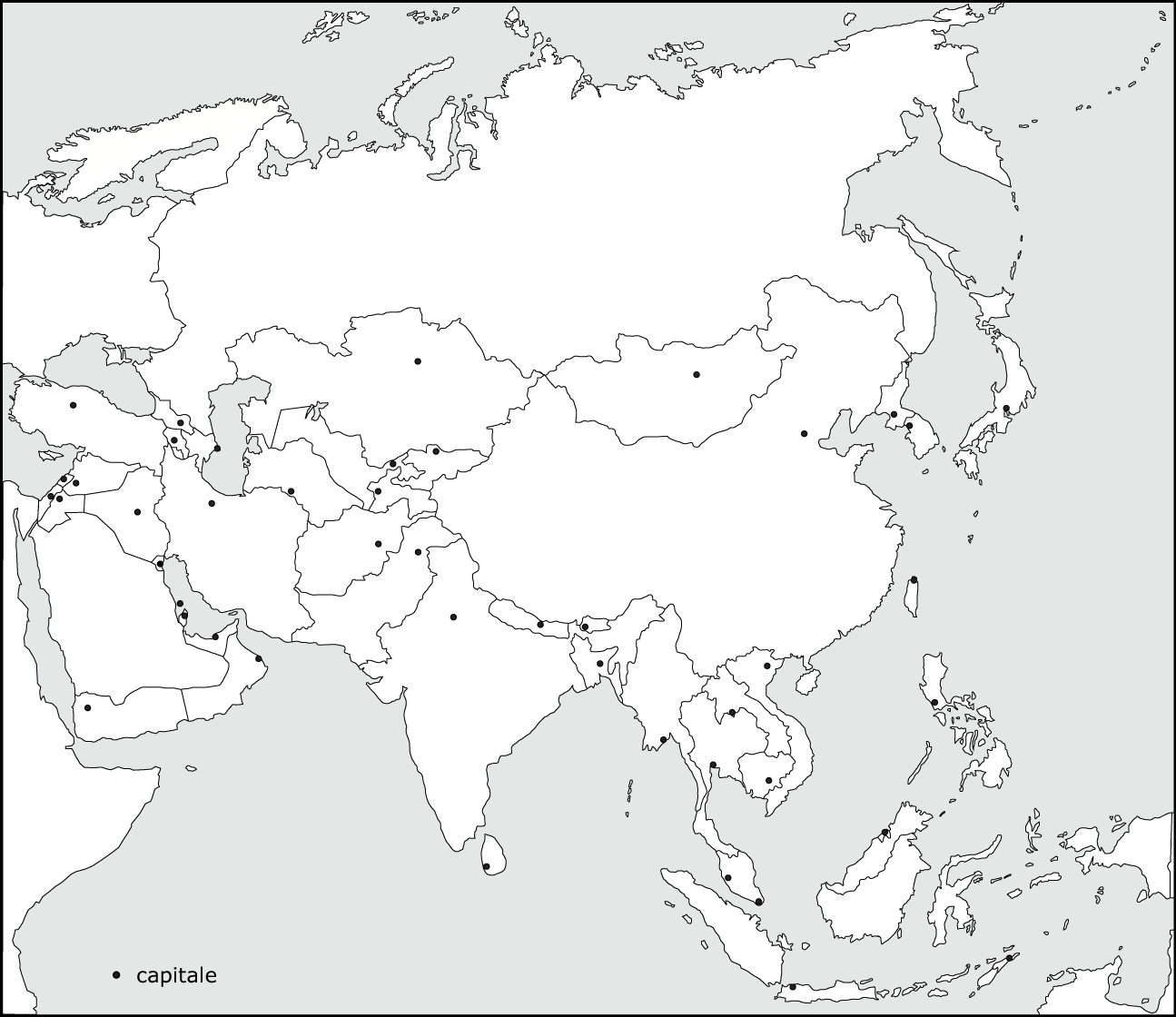 Blank Map Of Asia With Country Names