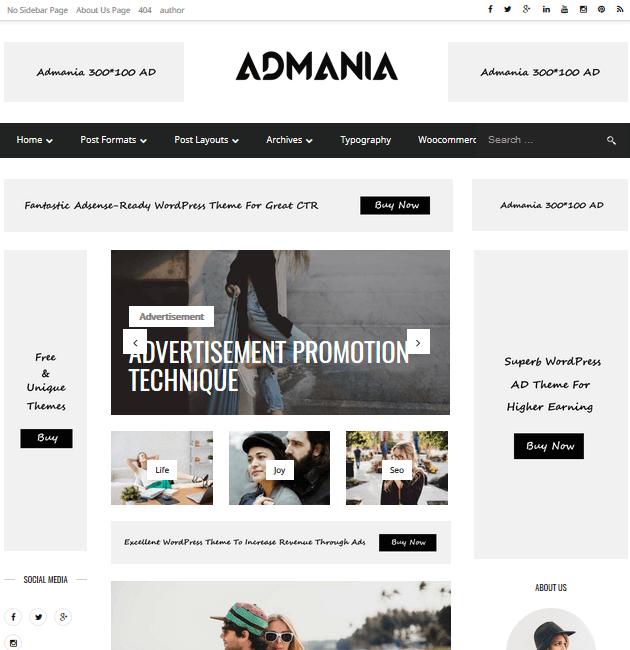 Admania - Ad-Space WordPress Themes